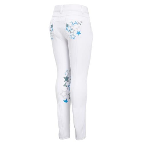 Was £79.99 White New Montar Stars Knee Grip Childrens Competition Breeches