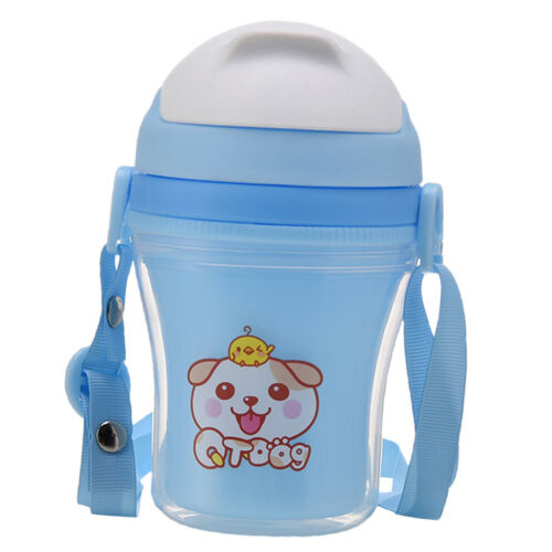 Straw Water Bottle Baby Feeding Sippy Training Cup with Handles 300ml