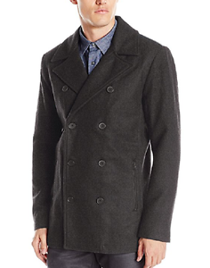 Kenneth Cole Reaction Men's Faux Leather Trim Pea Coat,Size XS ...