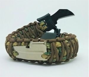 Image Is Loading Paracord Bracelet W Knife Buckle Fire Starter Whistle