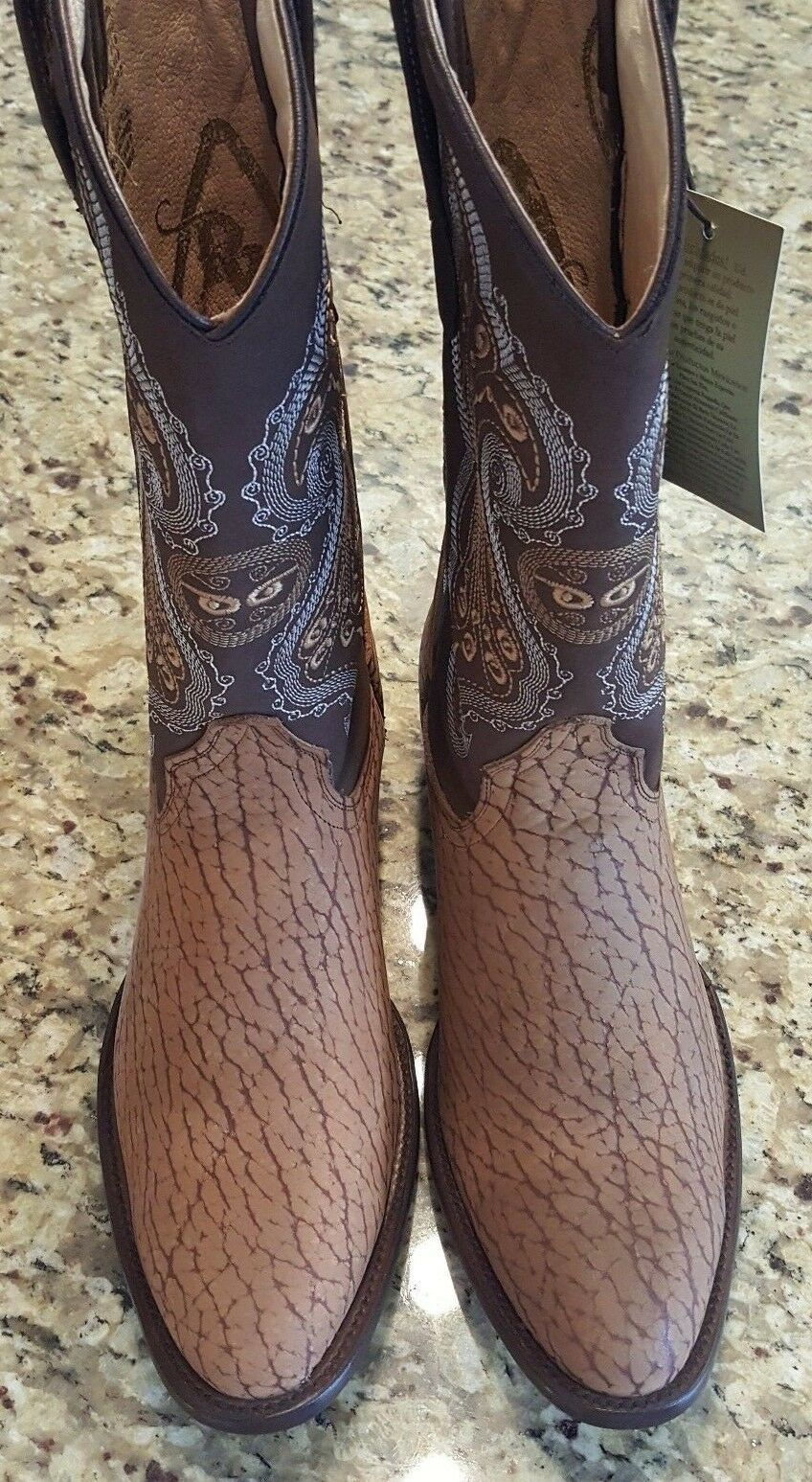 Men Hand Made Real Western Adult Bull Skin Leather Cowboy Stiefel Rodeo Round 9.5D