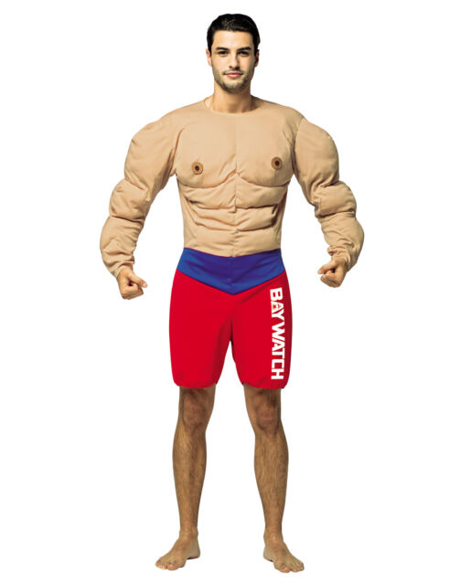 b735ac780cd Baywatch Lifeguard Costume Muscles Adult Funny Halloween Party ...