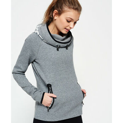 New Womens Superdry Gym Tech Cowl Hoodie Speckle Charcoal