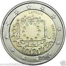 Moneta commemorativa 2 euro LETTONIA 2015 30ème compleanno. del bandiera Europea