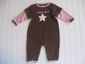94ac59d49f1 Baby Gap Girl 3-6M SUPER STAR Brown Pink One Piece Romper Pants Outfit 3-6  Month