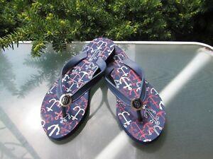 ddca476efefe4e Tommy Hilfiger Women s Navy TH Logo Medallion Rubber Flip Flop ...