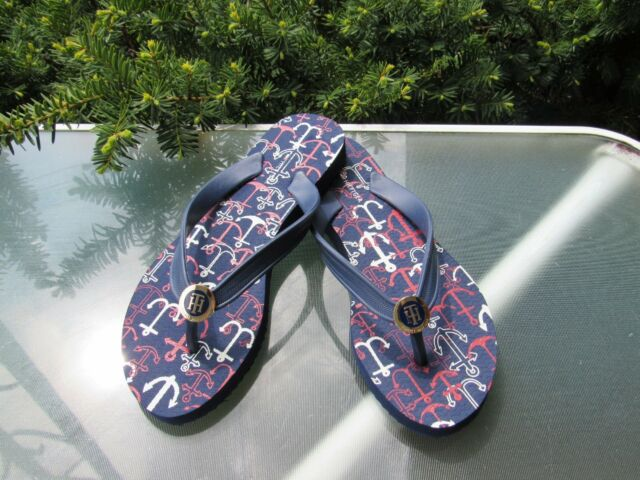1329933a1d5a Tommy Hilfiger Women s Navy and White Star Rubber Flip Flop Sandals 7