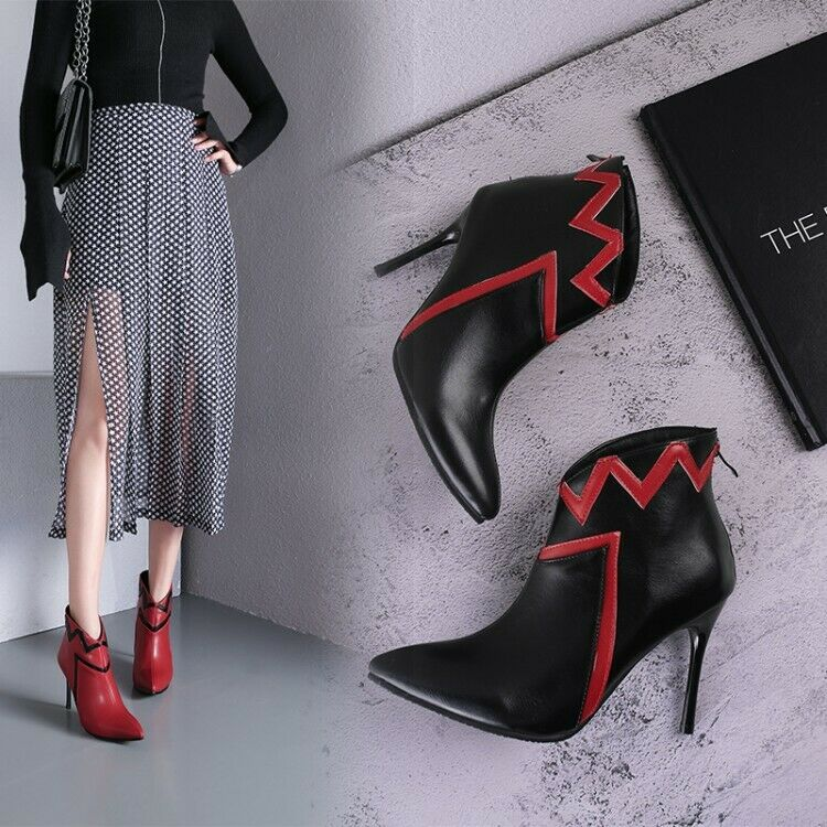 Fashion Womens Pointed Toe Ankle Booties Stiletto High Heels Party Causal Party