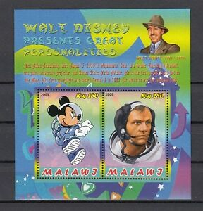 Malawi-2009-Cinderella-Edition-Mickey-Mouse-amp-Neil-Armstrong-Space-Feuille-De