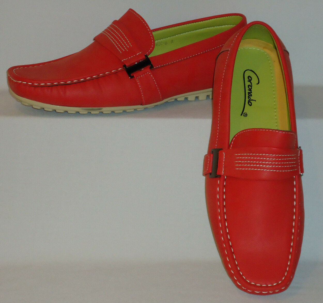 Mens Fun Red Color Stylish Boat Shoes Driving Mocs Soft Touch Feel Moc6-Red