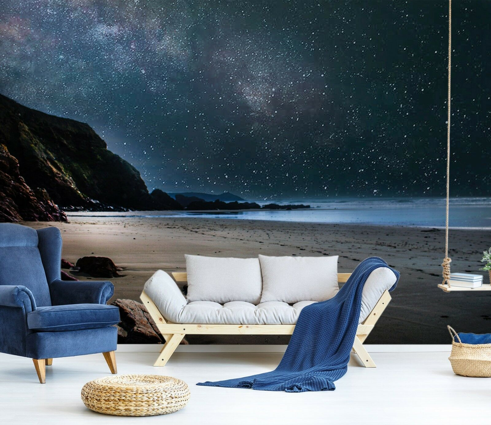 3D Sea Beach Night 7087 Wallpaper Mural Paper Wall Print Indoor Murals CA Summer