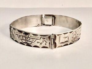 Vintage Mexico Sterling Silver Etched Design Panel Bracelet