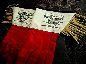 Vintage-PAIR-039-RODEO-039-Decorated-CUFFED-COWBOY-GLOVES-Long-Suede-Fringed
