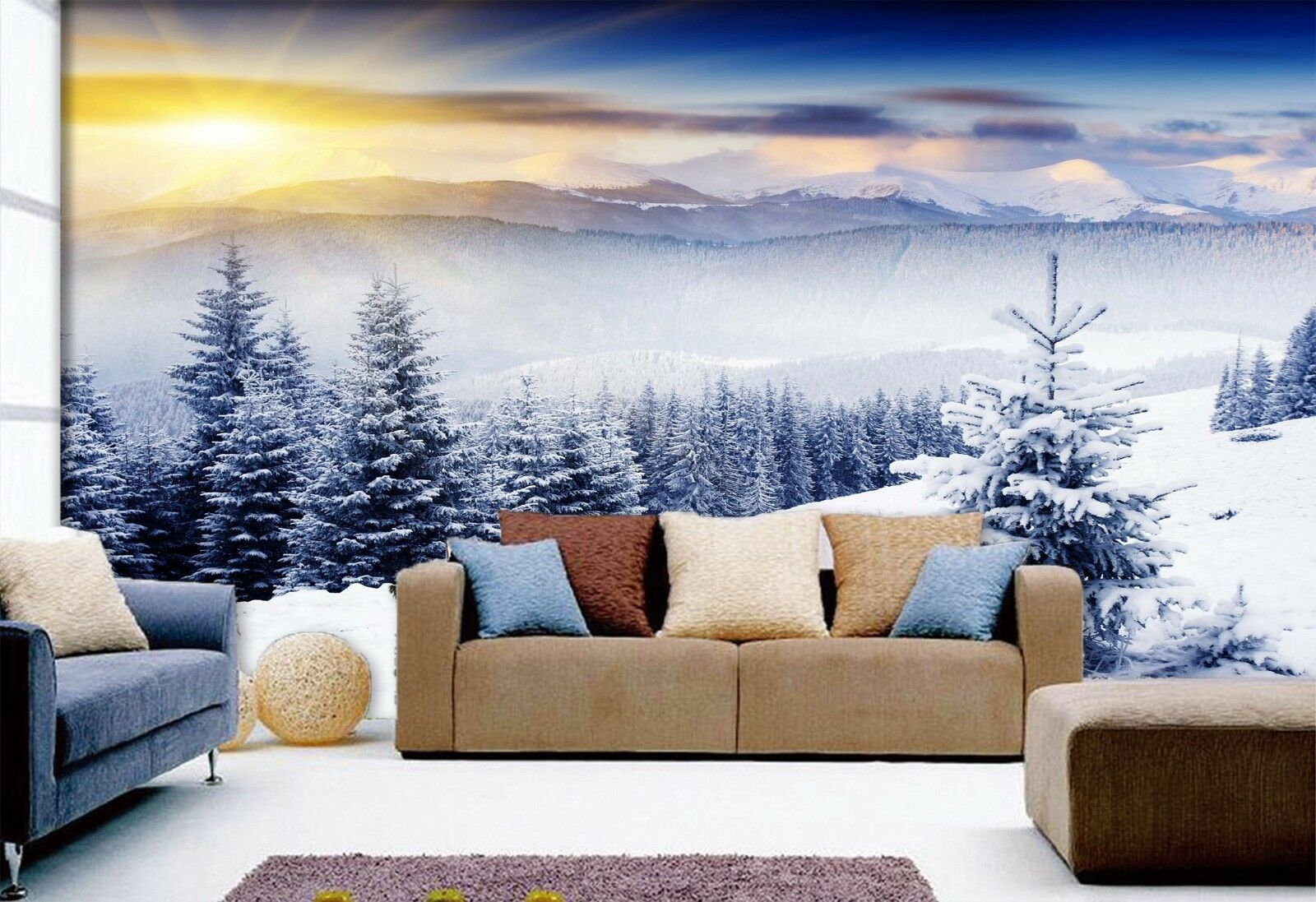 3D Snow Tree Sun 7305 Wallpaper Mural Wall Print Wall Wallpaper Murals US Lemon