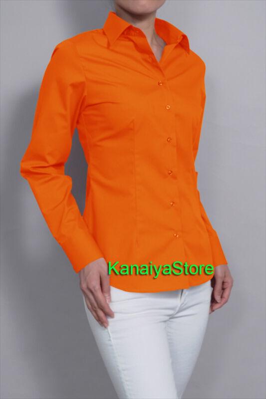 Orange Frauen Button Down Solid Kragen Shirts Langarm Büro Bluse Top
