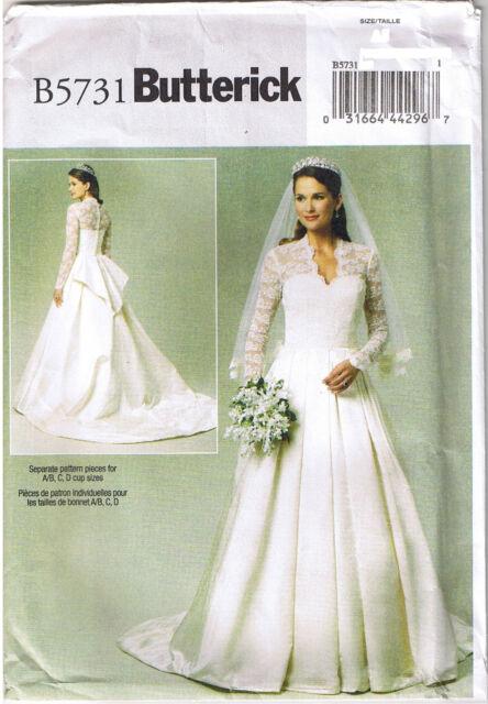 Butterick B5731 6 14 Sewing Pattern Princess Kate Wedding Dress Ebay