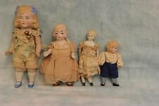 Four Antique German All Bisque Dolls Molded Socks & Shoes c.1900s Dollhouse