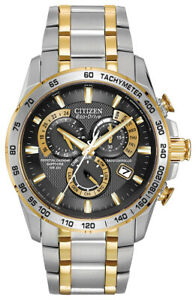 Citizen-Eco-Drive-Men-039-s-Atomic-Chronograph-Alarm-Multi-Dial-Two-Tone-42mm-Watch