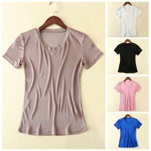 Lady-Silk-Short-Sleeve-V-Neck-T-shirt-Basic-Plain-Tops-Tee-Shirts-Casual-Retro