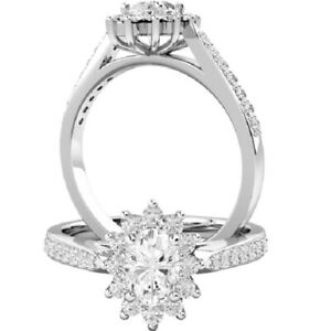 1.20 Ct Oval Moissanite Wedding Ring 14K Proposal Solid White Gold ring Size 5 6
