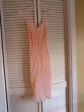 Vintage 1970's Peach Silky Lace Trim Slip Chemise Dress Nightgown Women's Size S