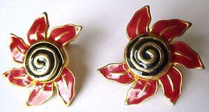 Belles Boucles D'oreilles Clip Bijou Rétro Fleur Couleur Or émail Rouge 3549