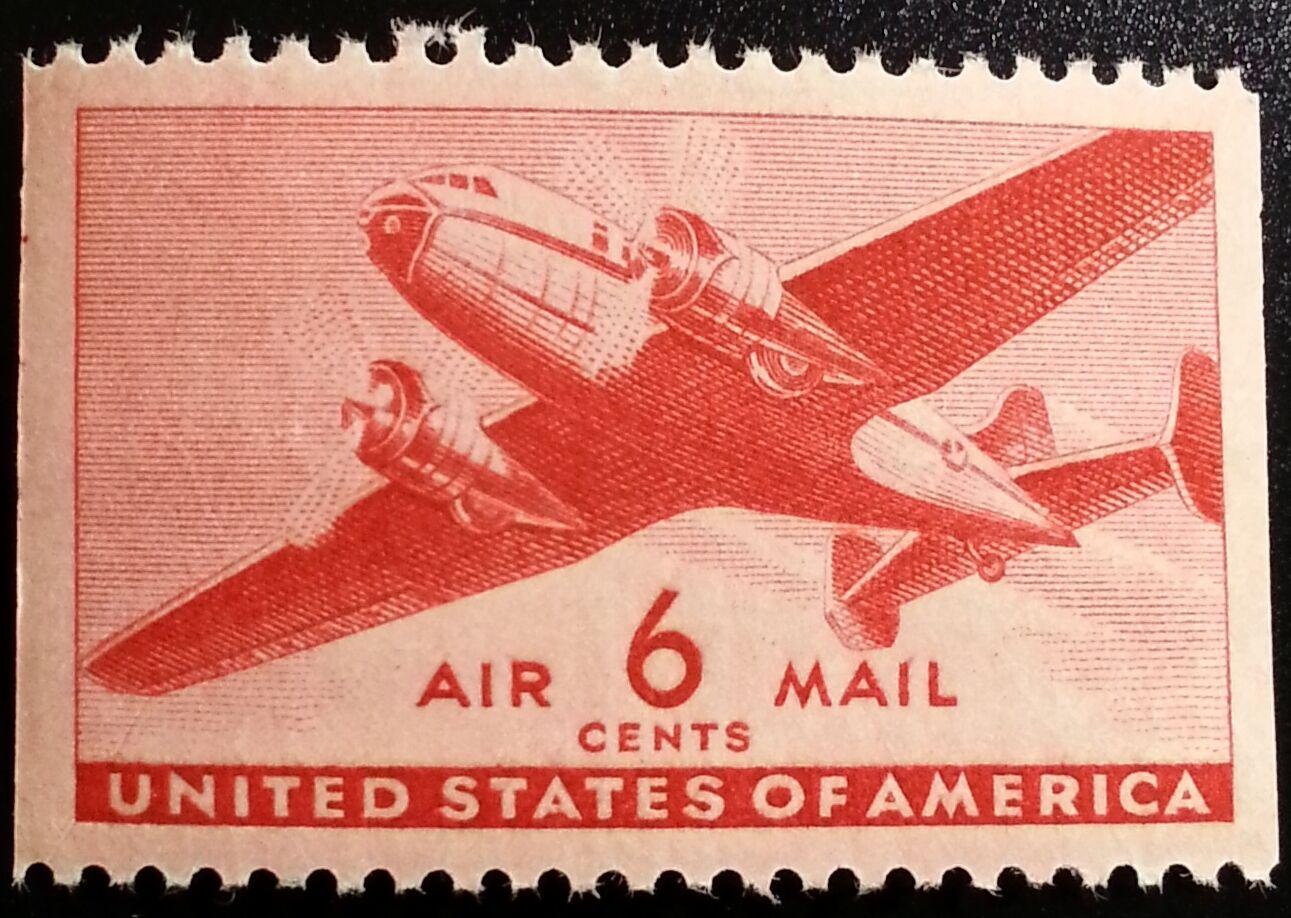 1941 6c Transport Plane, Carmine, Booklet Single Scott
