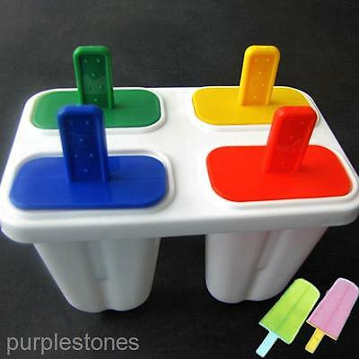 Food Grade Ice Cream Lollypop Lollipop Maker Tray Cube Mould Mold+4 Colors Stick