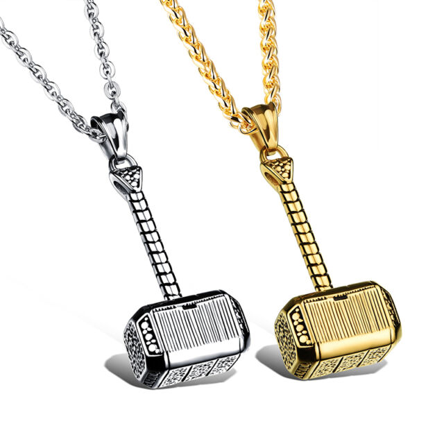 Men Thor Hammer Charm Pendant Stainless Steel Fashion Lovers Chain Necklace
