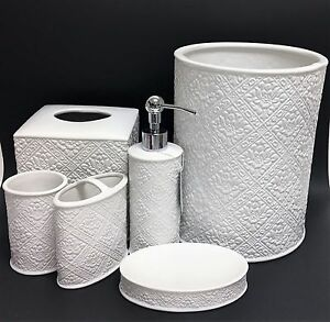 New 6 Pc Set Caro White Textured 3d Ceramic Soap Dispenser