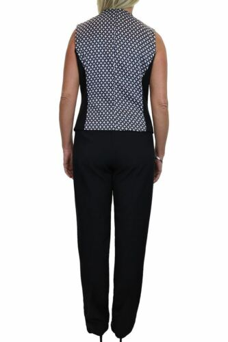 6500-1 Lined Waistcoat Trouser Suit Fashion Business Party Black 10-20 ICE