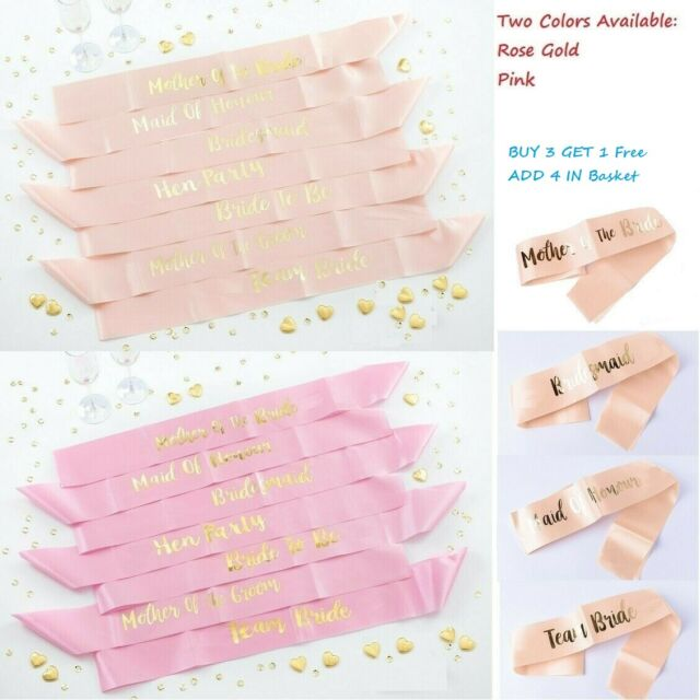 Hen Party Team Bride Pink /& Rose Gold Decorative Bride to Be Sash