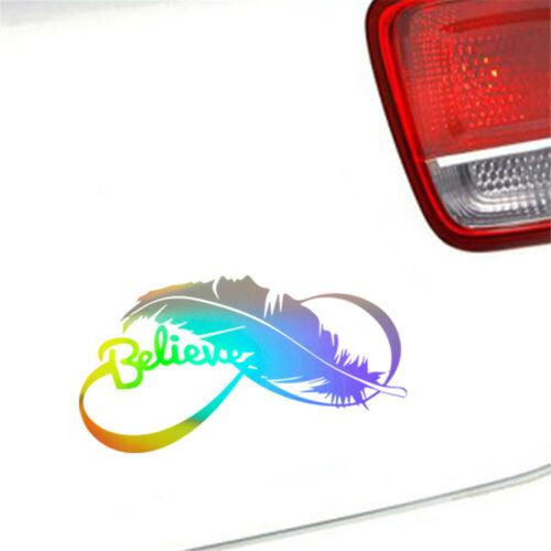 2pcs Feather Believe Window Door Laptop Bumper Vinyl Decal Car Sticker