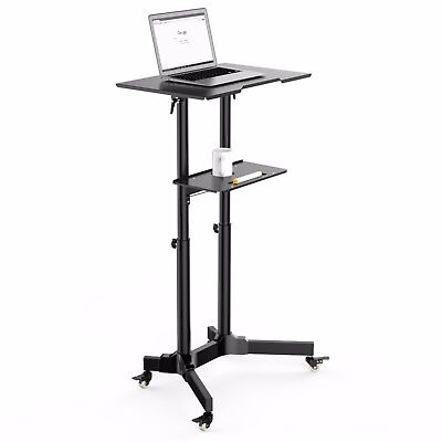 Mobile Table Laptop Desk Stand Notebook Cart Tray Compact Adjustable Workstation 5236418556265 Ebay
