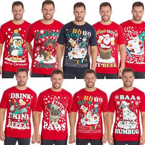 Para-hombres-Camiseta-De-Impresion-De-La-Novedad-De-Navidad-Top-Gracioso-Grosero-explicito-Broma