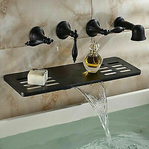 Gentil Oil Rubbed Bronze Brass Bathtub Faucet Wall Mount Mixer Tap Waterfall Shelf  Tap