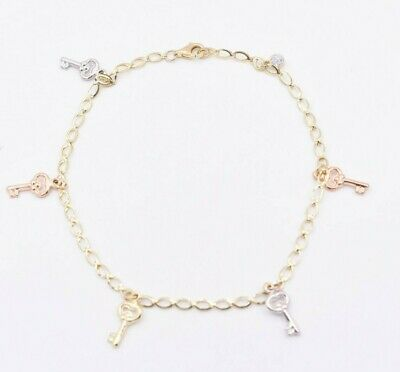 Key Lock Charm Anklet Chain Real 10K Yellow Gold 10