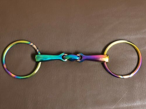 Rainbow Multi Color Loose Ring Snaffle Horse Bit Stainless Steel Tack Equestrian