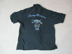 Tommy-Bahama-Hawaiian-Shirt-Adult-Large-Black-Basic-Trolling-Embroidery-Mens