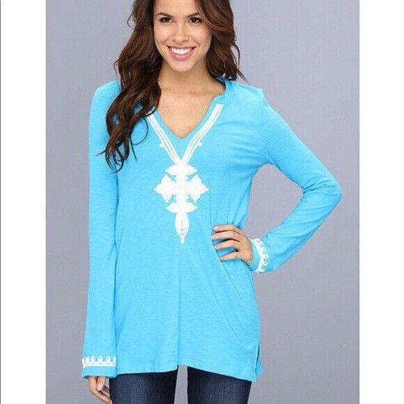 Lilly Pulitzer aqua Blau Thea v-neck embroiderot Tunic top small s