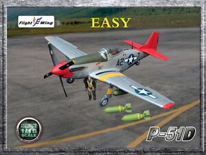 """Flight Wing 1//18 P51D WWII US Army Air Force /""""EASY/"""" MUSTANG Fighter Plane Model"""