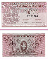 LAOS LAO 1 KIP 1962 BUNDLE UNC CONSECUTIVE PACK OF 100 PCS P.8
