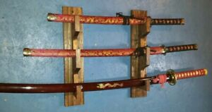 3-Tier-Wall-Mount-Presentation-Rack-Display-Katana-Samurai-Sword-Mahogany-Stain