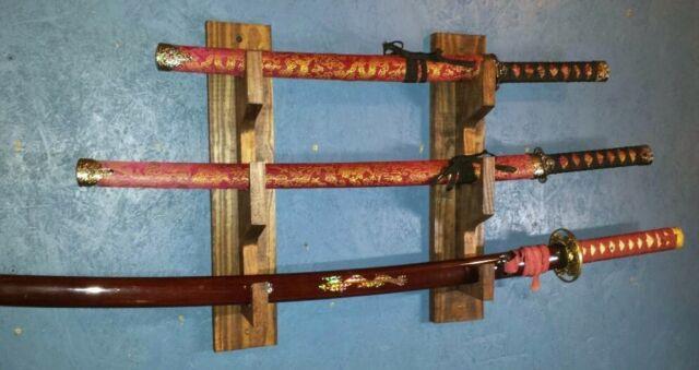 New 3 Tier Handsome Samurai Katana Sword Blade Wooden Display Wall Rack Black