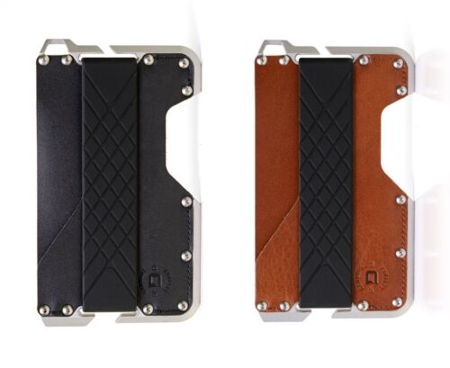 Made in USA Dango Dapper EDC Wallet CNC Alum -Genuine Leather Black // Brown
