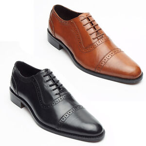 Image Is Loading Mens Real Leather Lined Brogue Formal Lace Up