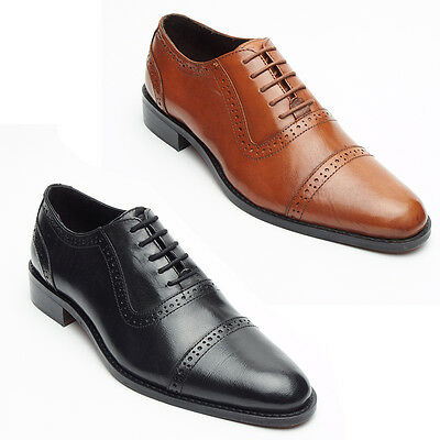 Mens Real Leather Lined Brogue Formal Lace Up Office Or Formal Black & Tan Shoes Eine GroßE Auswahl An Waren