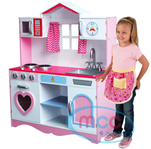 Groovy Mcc Large Girls Kids Pink Wooden Play Kitchen Childrens Play Pretend Set Toy Download Free Architecture Designs Lukepmadebymaigaardcom