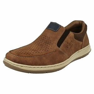 mens rieker 17367 brown leather casual slip on shoes extra