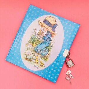 Cute-Unused-Large-Vintage-1980s-Sarah-Kay-Hollie-Hobbie-Lockable-Diary-Notebook